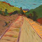 Σπύρος Μακρίδης: «Γραμμές στα Καλάβρυτα», 50Χ70εκ. Ακρυλικό και λάδι σε καμβά
