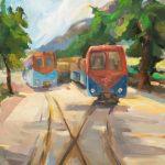 Στέλλα Καβάγιου: «Στις ράγες των παλιών τραίνων», 70Χ100εκ. Λάδι σε καμβά