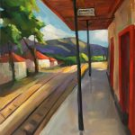 Στέλλα Καβάγιου: «Σταθμός Καλαβρύτων», 70Χ100εκ. Λάδι σε καμβά
